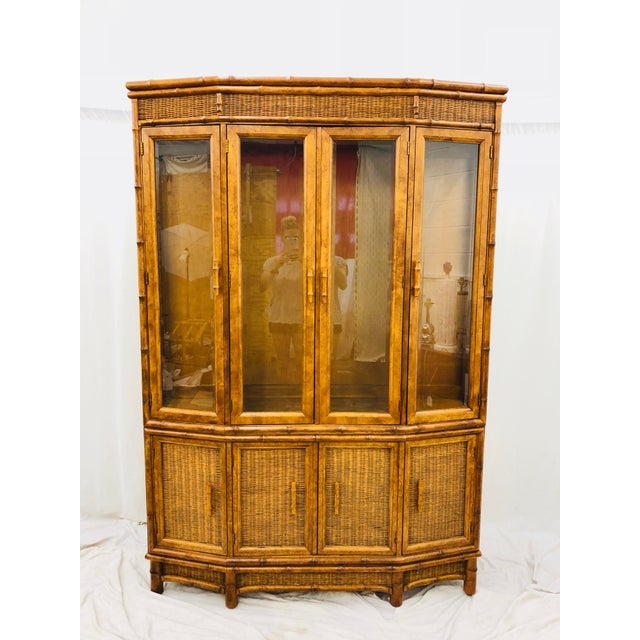 Stunning Vintage Mid Century Modern Hollywood Regency Natural Woven Wicker & Faux Bamboo Carved Wood China Cabinet Bar...