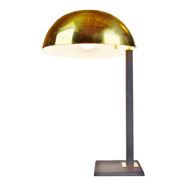 Mid Century Brass Dome Shade Desk Lamp For Sale