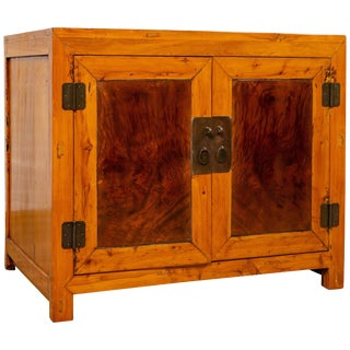 Large Antique Chinese Burl and Elm Wood Two-Toned Patina Cabinet With Doors For Sale