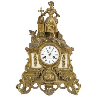 Late 19th Century Gilt Brass Figural Mantel Clock For Sale