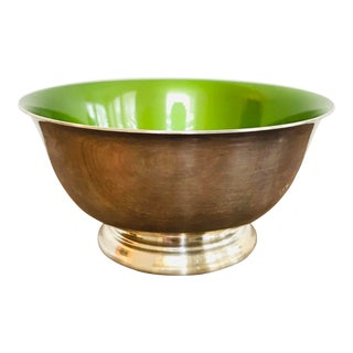 1960s Vintage Mid Century Modern Reed & Barton Silver Plate and Bright Green Enamel Bowl For Sale