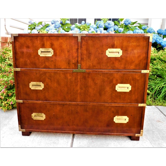 Vintage Baker Furniture Campaign Chest of Drawers For Sale In Washington DC - Image 6 of 6