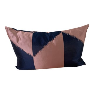 Pierre Frey Blush/Navy Silk Pillow For Sale