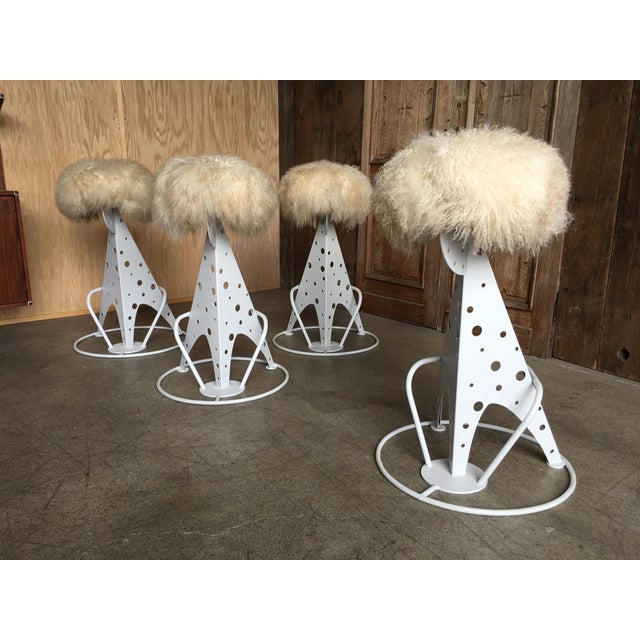 White Post Modern Mongolian Wool Bar Stools - Set of 4 For Sale - Image 8 of 9