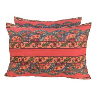 Vibrant Printed Pillows - A Pair For Sale