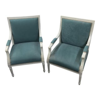Light Blue Velvet Upholstered Chairs - A Pair