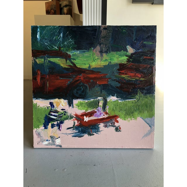 Original oil painting with vintage quality although most likely completed within the past ten years. Imagery in foreground...