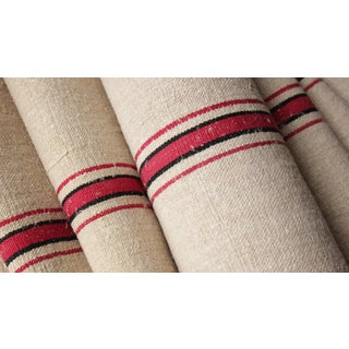 "Antique Homespun Red And Back Striped Hemp Grain Sack Fabric - 22.5x36"" For Sale"