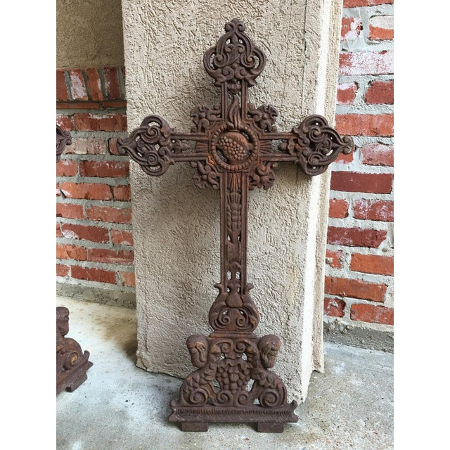 Cast Iron Antique French Cast Iron Cross Crucifix Chapel Garden Architectural Cemetery For Sale - Image 7 of 7