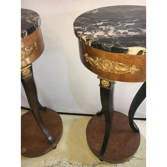 Empire Empire Style Marble Top Pedestals - a Pair For Sale - Image 3 of 4