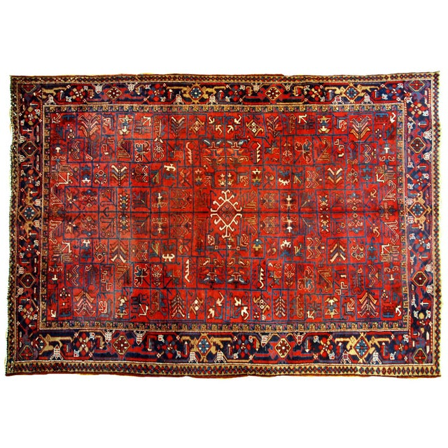 1900s Handmade Antique Persian Heriz Rug 7.3' X 10.1' For Sale - Image 10 of 11