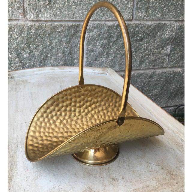 Hammered Brass Flower Basket - Image 2 of 8