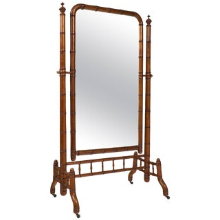 """Napoleon III Faux Bamboo """"Psyche"""" Mirror For Sale"""