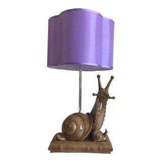 Mid-Century Giant Snail Lamp & Shade For Sale