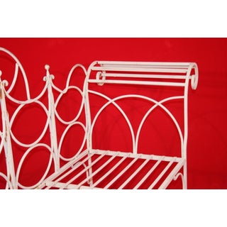 Vintage Wrought Iron Gothic Priory Style Garden Bench Scroll Sofa White Sunroom Preview