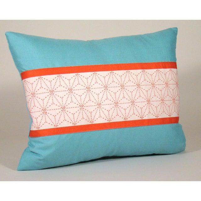 Unique pillow cover fashioned from a vintage Japanese cotton obi depicting a geometric hemp leaf design (asanoha) sashiko...