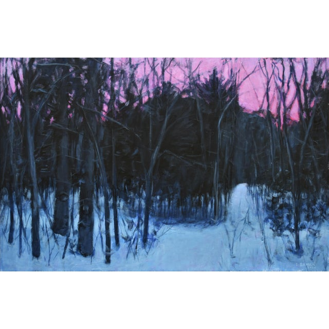 Inspired from an early morning winter walk in the woods behind my house. The snow, still glowing blue, balanced with the...