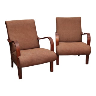 1940s Danish Art Deco Bentwood Club Chairs - a Pair For Sale