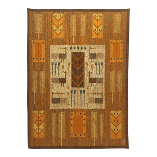 1960s Scandinavian Modern Signed Wall Hung Tapestry - 3′6″ × 4′11″ For Sale