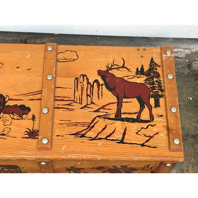 1950s 1950s Vintage Cowboys and Indians Wooden Toy Chest For Sale - Image 5 of 13