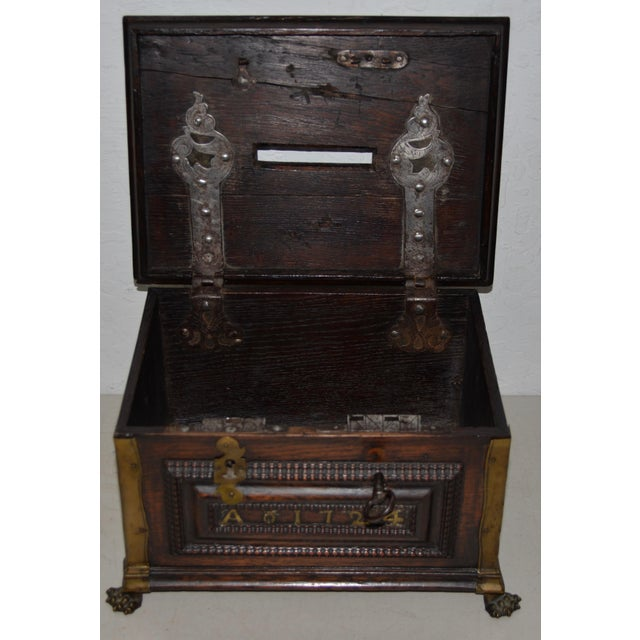 Early 18th Century Carved Walnut & Brass Alms Box C. 1724 For Sale - Image 10 of 13
