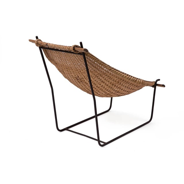 1950s John Risley Wicker and Iron Chaise For Sale - Image 5 of 7