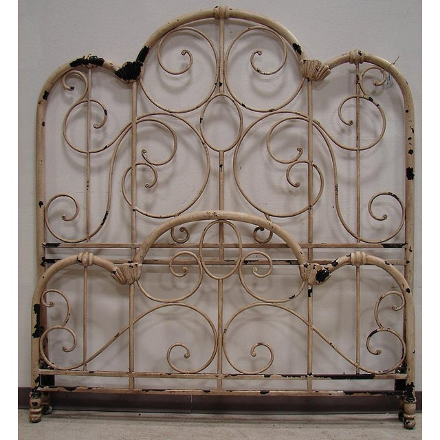 Shabby Chic Distressed Wrought Iron Queen Bed For Sale - Image 3 of 3