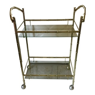 1970s Vintage Faux Bamboo Chrome and Glass Bar Cart For Sale