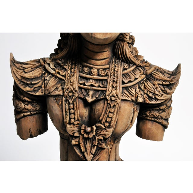 Southeast Asian Wood Carving Model of a Goddess For Sale In Chicago - Image 6 of 13