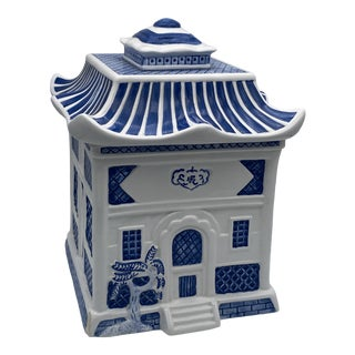 Blue Willow Pagoda Blue and White Cookie Tea Jar For Sale