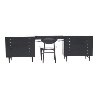 American of Martinsville Mid-Century Black & White Dressers & Chair - Set of 4
