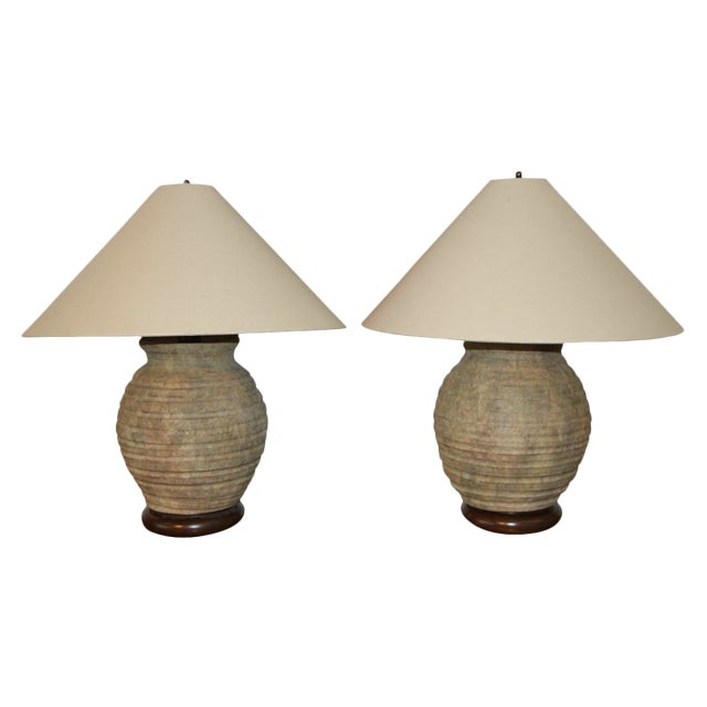 Ribbed Stone Ware Pottery Lamps - a Pair For Sale