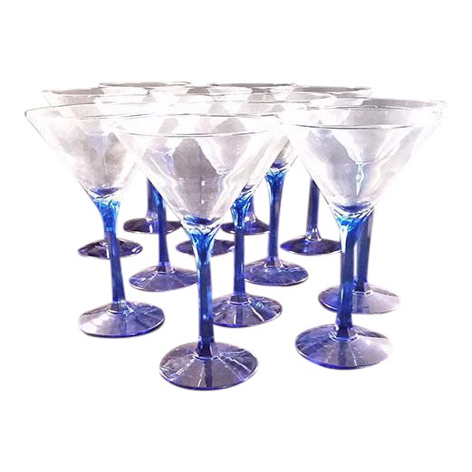Blue Stem Martini Glasses - Set of 12 - Image 1 of 5