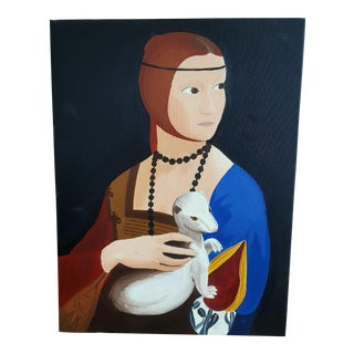 Lady With an Ermine Painting on Canvas For Sale