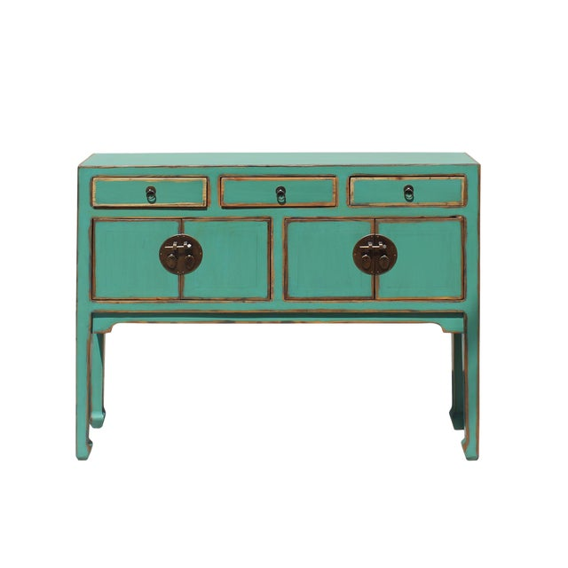Chinese Oriental Distressed Teal Green Blue Narrow Slim Table For Sale