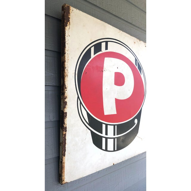 Industrial Vintage P Paint Bucket Sign For Sale - Image 3 of 6