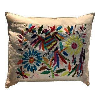 Multicolor Mexican Tenango Hand Embroidered Pillow Cover For Sale