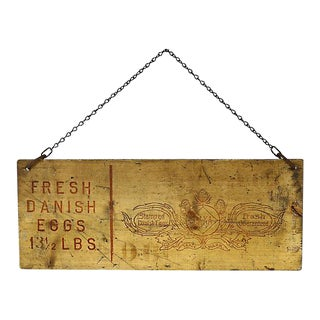 Vintage Danish Egg Stand Sign For Sale