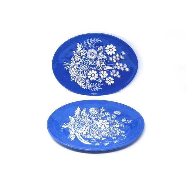 Country Vintage Blue and White Embossed Flowers Plates - Set of 2 For Sale - Image 3 of 10