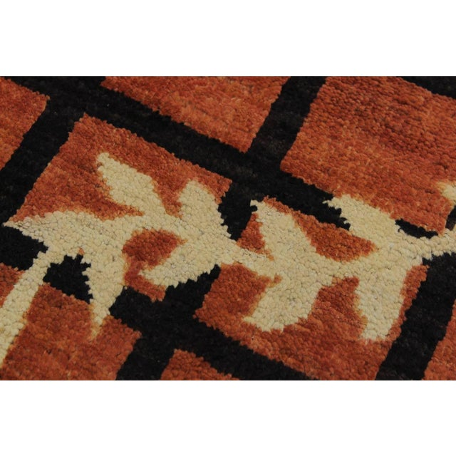1970s Contemporary Ziegler Angle Drk. Orange Wool Rug - 5′11″ × 8′8″ For Sale - Image 5 of 9