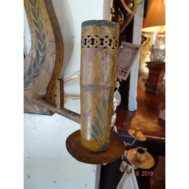 Pair of French Painted Tole Sconces For Sale - Image 10 of 13