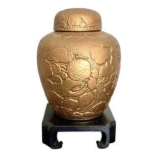 Vintage Nopcoware Full Gilt Japanese Ceramic Ginger Jar on Stand For Sale