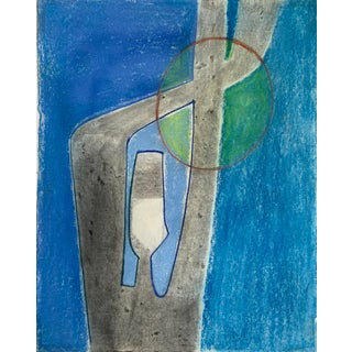 """1970s """"Abstract Blue Figure"""" Pastel Drawing Benoit Gilsoul For Sale"""
