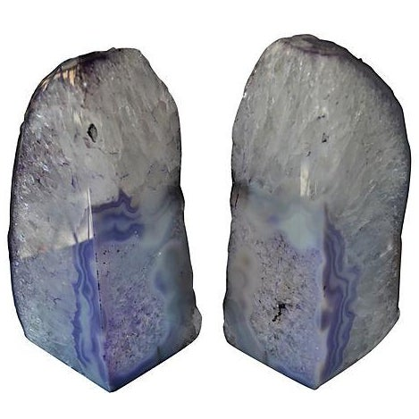 Lavender Geode Bookends - A Pair - Image 1 of 2