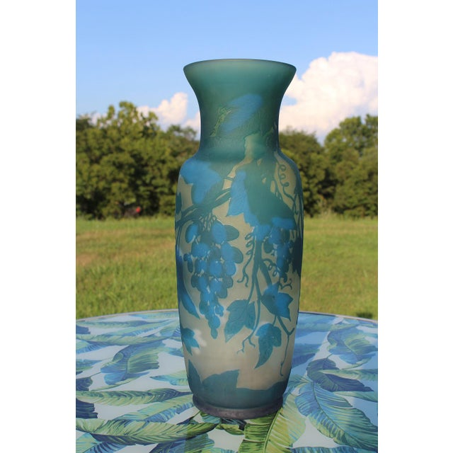 The colors of this French cameo glass vase are what first attracted me to it, the intense turquoise blue showcased...