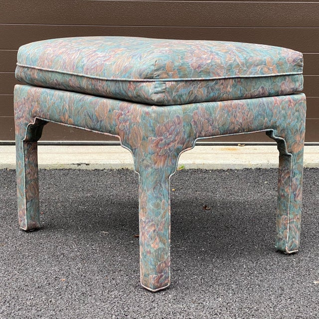 Wood 1980s Fully Upholstered Floral Bench For Sale - Image 7 of 13