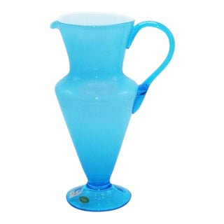 Aqua Balboa White Cased Murano Glass Pitcher, C. 1960 For Sale
