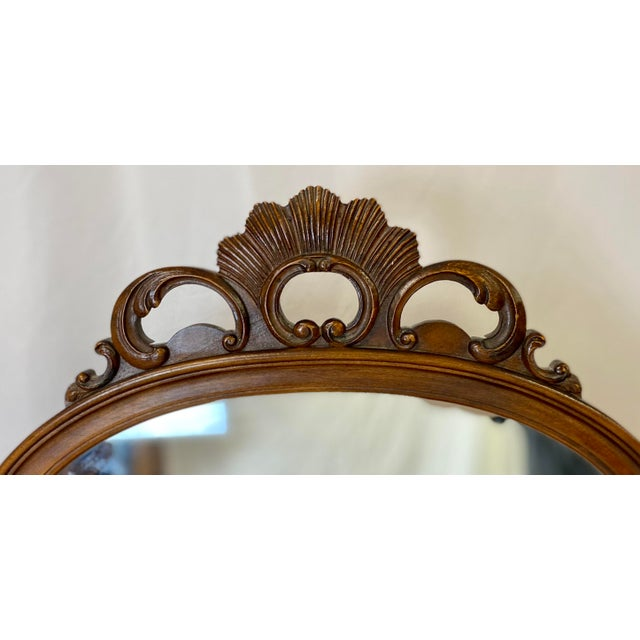 Antique Walnut English Art Deco Vanity With Mirror For Sale - Image 11 of 13