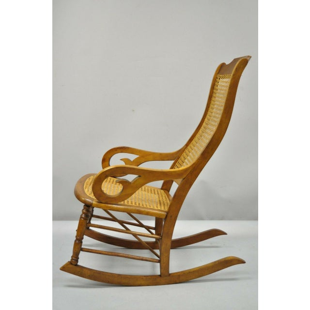 19th Century Antique Eastlake Victorian Cane & Maple Wood Primitive Rocker Rocking Chair For Sale - Image 11 of 12