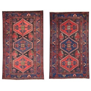 Pair of Vintage Persian Hamadan Rugs with Modern Tribal Style For Sale